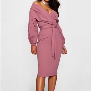 Midi mauve long sleeve dress